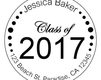 graduation stickers, personalized graduation stickers, high school or college stickers, class of 2017 stickers