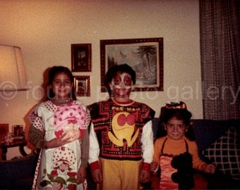 Digital Download, Children in Halloween Costumes, Vintage Photo, Color Photo, Printable Photo, Found Photo, Snapshot, Old Photo  1042