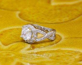 14k white gold round cut diamonds art deco engagement ring, bridal, wedding, anniverary, deco, Split Band, Halo 1.70ct I-SI1
