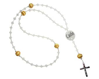 Softball Name & Date Rosary in team colors with Swarovski Crystals, First Communion, Baptism, Christening Prayer Beads, Date Medal