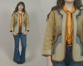 70s Hippie Jacket Tan Corduroy Bell Sleeves Abstract Patchwork Embroidered Piping Lightweight 1970s Boho / Size S Small