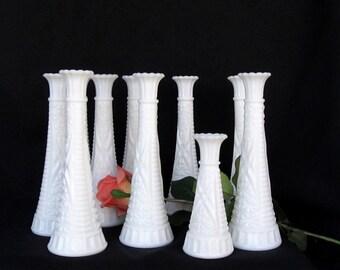 Bud Vase Milk Glass Set of 10 Vases - For Wedding - Table Decor - Party Centerpieces White Milk Glass Bud Flower Vases