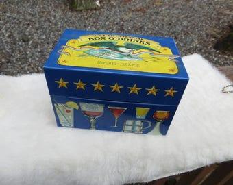 Box O' Drinks Recipe Box Vintage Metal Recipe Box BiCentennial Cabin Still Bourbon Kentucky Straight Bourbon Whiskey Recipe Box With Recipes