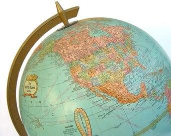 "Vintage Globe, Cram World Book, Schoolhouse Charm, Map, 12"" Desk Table Top, Travel Decor, World Traveller"