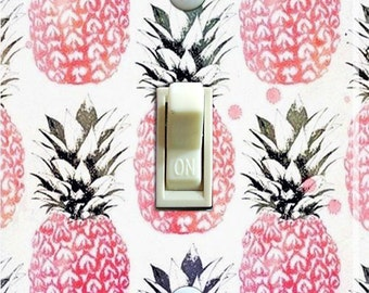 Vintage Pink Pineapple Wallpaper Switch Plate (single)  ***FREE SHIPPING***