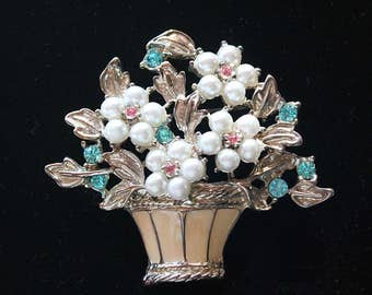 Pretty Vintage Faux Pearl, Rhinestone and Enamel Floral Basket Brooch