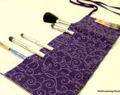 BOGO sale on now! Deep Eggplant Purple Swirl Print Organizer Roll for Makeup Brushes, Crochet Hooks, DPN Knitting Needles //22 Pockets