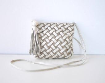 Sharif Handbag • Woven Leather Bag • White Leather Bag • Leather Crossbody Purse • Woven Leather Purse • Leather Crossbody Bag | B800