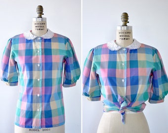 Jonathan Logan Eyelet Blouse M • 80s Blouse • Peter Pan Collar Blouse • Plaid Shirt • Short Sleeve Blouse • Puff Sleeve Blouse | T806