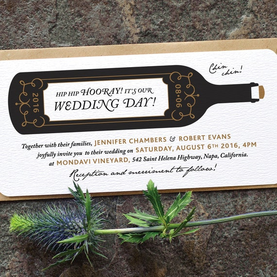 Modern vineyard wedding invitation 39wine by twoforjoypaper for Modern winery wedding invitations