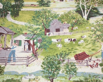 "Grandma Moses ""At the Well"" Vintage Barkcloth - 21 Inches by 17 Inches"
