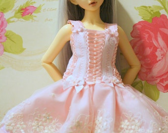 "MSD Minifee, Unoa, Narae Dress "" Ice Cream Sundae"" one of a kind BJD 2 piece set. Dress, and matching headband"