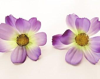 1 Pair Purple Cosmos flower Hair Clip 2.50 inches (6.50 cm.)
