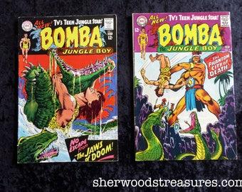 2 DC Comics BOMBA Jungle Boy 1967  #1 #2 Sixties Very Good Superman National Comics