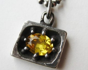 Vintage Made on Mars Sterling Silver Yellow Citrine Modernist Pendant Necklace