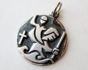 "Vintage James Avery Retired Sterling Silver St. Christopher 5/8"" Necklace Pendant Medal"