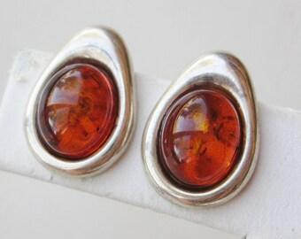 Vintage Baltic Amber Sterling Silver Tear Drop Pierced Stud Earrings
