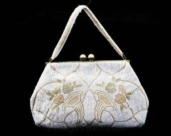 1940s White Evening Bag - Hand Beaded Formal Purse with Cornucopia Motif - 40s 50s Handbag - Icy Pastel Blue & Pink - Horn of Plenty - 48121