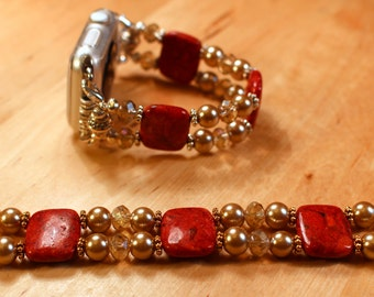 Watch band for Apple Watch, Red Sponge Coral with Gold Pearls and Crystals Watch Band Apple Watch