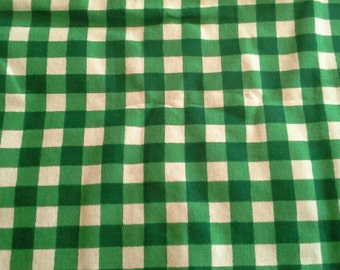 Green and White Gingham Print Flannel Cotton Fabric 3 Yards X0778