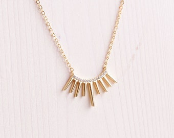 Sun Necklace | Gold Half Circle Necklace | Boho Necklace | Everyday Necklace | Layering Necklace | Spike Necklace