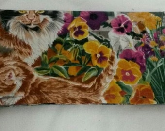 Garden Cats Checkbook Cover Coupon Holder Clutch Purse Billfold Ready-Made
