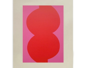 Mid Century Modern original abstract screenprint in bright pink and red. Modern art by Emma Lawrenson