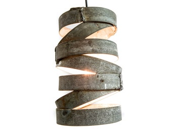 "VITALI - ""Tala"" - Wine Barrel Ring Staggered Pendant Light - 100% Recycled"