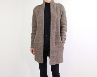 VINTAGE Mohair Cardigan 1980s Sweater Open Long Brown