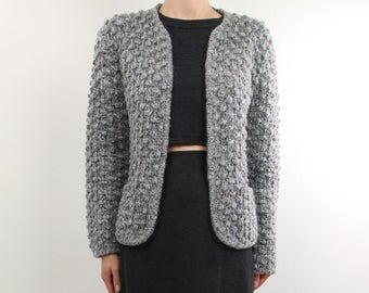 VINTAGE Cardigan Gray Nubby Knit Sweater