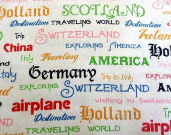 Travel Words Fabric Round the World Words Cotton Fabric Blue Hill's Fabric Sewing Supply Quilting Supply Craft Supplies