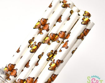 Teddy Bear Party Paper Straws - Cake Pop Sticks - Pixie Sticks - Qty 25