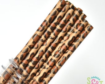 Leopard Party Paper Straws - Cake Pop Sticks - Pixie Sticks - Qty 25