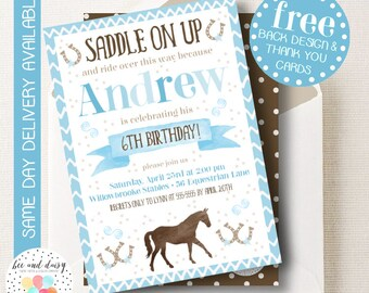 Cowboy Invitation, Cowboy Birthday Invitation, Cowboy Birthday Party, Cowboy Party Invitation, Cowboy Horse Birthday BeeAndDaisy
