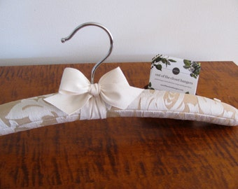 Brides Hanger, Gold Damask Brides Hanger, Gold Bride Hanger with Flower, Wedding Hanger, Ecru Gold Wedding Hanger, Gold Damask Bridal Hanger