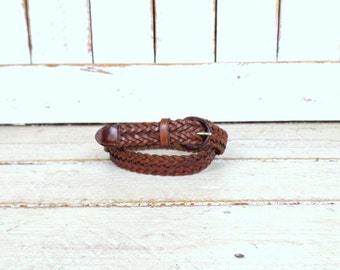 Vintage braided woven brown leather belt/boho/hippie skinny leather boho belt/34
