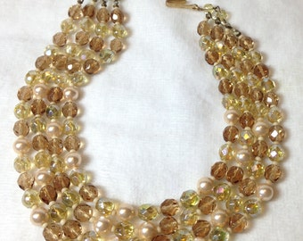 Amber Bead Necklace // Four Strand // Glass // Pearls  // Vintage