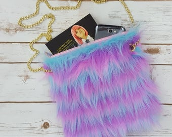 Rave Fur Purse - Blue, Pink, Purple Fuzzy bag