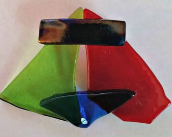 Shattered Stained Glass Ceiling Pin, Fused Glass Brooch, Fused Glass Jewelry, Fused Glass Art, Fused Glass Pin