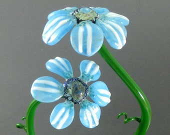 Lampwork Glass Flower Sculpture - Sky Blue Daisies - Nature Art For Your Home