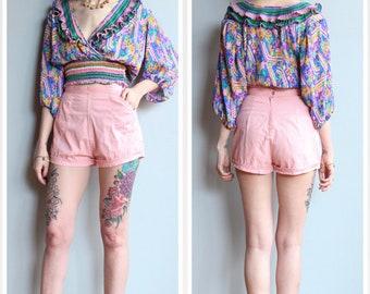 1950s Shorts // Cotton Candy Shorts // vintage 50s shorts