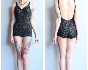 1950s Swimsuit // Illusion Lace Jantzen Bathing Suit // vintage 50s swimsuit