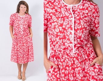 Vintage Coral Red White Floral Print Day Dress * Shirt Dress Rockabilly Preppy Street Style * Size Large X-large * FREE SHIPPING