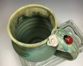 Ladybug and Flower Pottery Mug