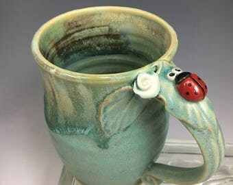 Porcelain Lady BUG and Flower Pottery Coffee Mug or Cup