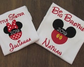 Mickey and Minnie Inspired Disney Shirts, SET of TWO, Big Brother and Little Sister