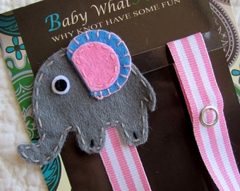 Baby Pacifier Clip, Girl Elephant Pacifier Clip, Pacifier Holder, pcelephant02