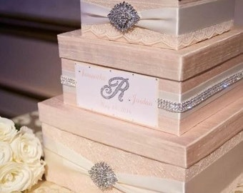 Wedding Card Box, Custom Card Box, Lace Money Box, Wedding Card Holder