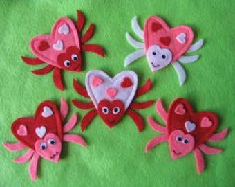 5 Valentine Love Bugs Felt Board Set with Original Laminated Rhyme
