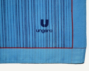DESIGNER MEN'S HANDKERCHIEF Ungaro Medium Blue Red Border Trim Signed Cotton Twill 18 x 18 Never Used Excellent Condition